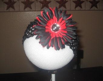 red and black flower headband