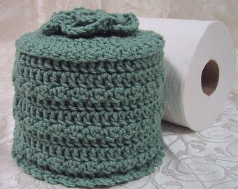 Cover Your Spare - Toilet Paper Cover w- Flower on Top - TP Cozy - Hand Crocheted Sage Color - Acrylic Yarn - Bed & Breakfast Decor