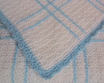 Baby Afghan - Handmade Crocheted - Infant Blanket - White and Blue Plaid -  Nice Shower Gift for Baby Boy  **Ready to Ship**