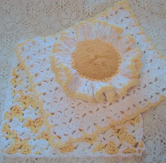 CLEARANCE PRICED - Country Kitchen Set 3 Piece - Yellow & White - Ruffled Scrubber and 2 Dish Cloths - Handmade Crocheted in Cotton Yarn