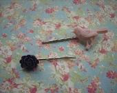 Bird and Flower  Bobby Pin Barrette Set