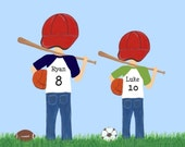 14x11 ART Print - Sports Boys- Free Personalization