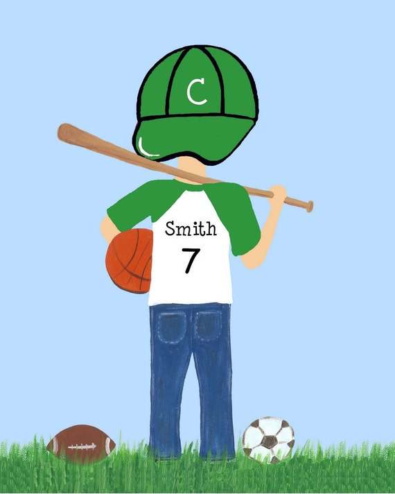 Sports Boy 8x10 Art Print Celtics or You pick COLOR and TEAM - Free Personalization