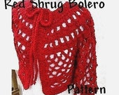 INSTANT DOWNLOAD Crochet Pattern PDF 45 - Red Shrug Bolero- Make it any color, any length, any size, sleeves long or short
