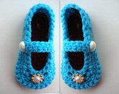 INSTANT DOWNLOAD Crochet Pattern PDF 214, Children's Size Mary Jane Slippers, 6 inch sole, fits ages 5 to 8