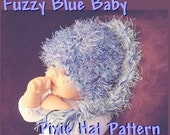 INSTANT DOWNLOAD Crochet Pattern PDF 27, Fuzzy Blue Pixie Hat fits Newborn to 3 Months