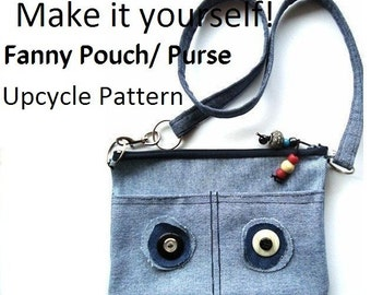 INSTANT DOWNLOAD Sewing Pattern PDF  No.123-Make a fanny pack from old Jeans-Wear it in Front, back or as a shoulder bag.