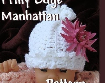 INSTANT DOWNLOAD Crochet Pattern PDF 16, Frilly Edge Manhattan Baby Hat.  Make it yourself sizes newborn  baby to age 5