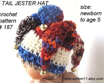 INSTANT DOWNLOAD Crochet Pattern PDF187, Jester Hat  4 Tails with Bells...make it yourself... sizes newborn to age 5
