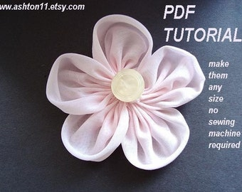 INSTANT DOWNLOAD Pattern PDF 128 Circle Petal Fabric Flower Pattern.  No sewing machine required