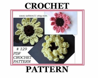 INSTANT DOWNLOAD Crochet Pattern PDF129  - Crysanthemum Flower with Brown Center - Make it in two styles