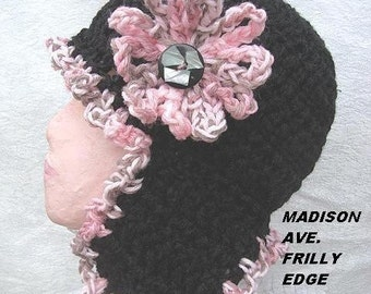 INSTANT DOWNLOAD Crochet Pattern PDF 109 Frilly Edge Earflap hat, Sizes   age 8 to adult