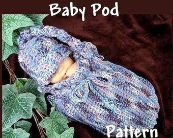 INSTANT DOWNLOAD Crochet Pattern PDF 20 -Unisex Pod, Cocoon, Bunting Bag.  2 piece set.-Beginner Level