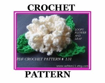 INSTANT DOWNLOAD Crochet Pattern PDF 131-Loopy Flower-crochet a loopy flower and leaf