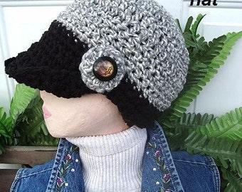 INSTANT DOWNLOAD Crochet Pattern PDF 141,  Black and Grey Visor Hat, Adult Size