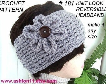 INSTANT DOWNLOAD Crochet Pattern PDF 181-  Knit Look Reversible Headband-make it any size