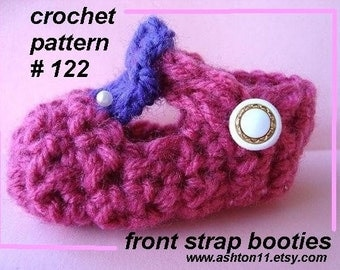 INSTANT DOWNLOAD Crochet Pattern PDF122,  Front Strap Booties, sizes preemie to 12 months