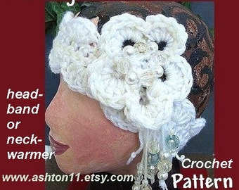 INSTANT DOWNLOAD Crochet Pattern PDF 10-.Evening in Paris Necklet or Headband