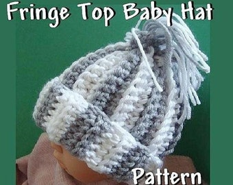 INSTANT DOWNLOAD Crochet Pattern PDF28,  Fringe Top Hat Pattern for newborn baby to adult