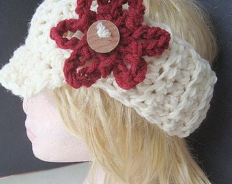 INSTANT DOWNLOAD Crochet Pattern PDF 216 Crochet Visor Headband Pattern  -make it any size, permission to sell your finished items.