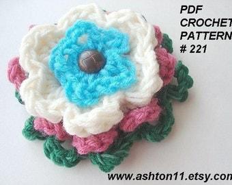 INSTANT DOWNLOAD Crochet Pattern PDF 221 - Crochet Flower Pattern -  Applique- Crochet For Beginners.