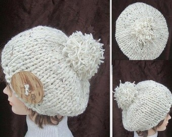 INSTANT DOWNLOAD Knitting Pattern PDF 232 -Chunky Style Hat- Knitting for beginners.. teen and adult size