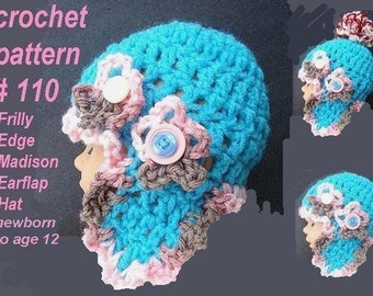 INSTANT DOWNLOAD Crochet Pattern PDF 110 - Make it for Newborn baby to age 12, Frilly Edge Earflap hat, Also available in adult size