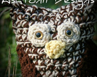 Owl Crochet Pattern PDF 177-Little Stuffed Owl- 8 inches tall - Crochet Toy Pattern