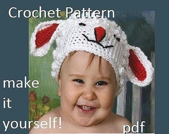 INSTANT DOWNLOAD Crochet Pattern PDF 31  Little Lamb baby  Hat  2 sizes  0 to 6 months and 6 to 12 months