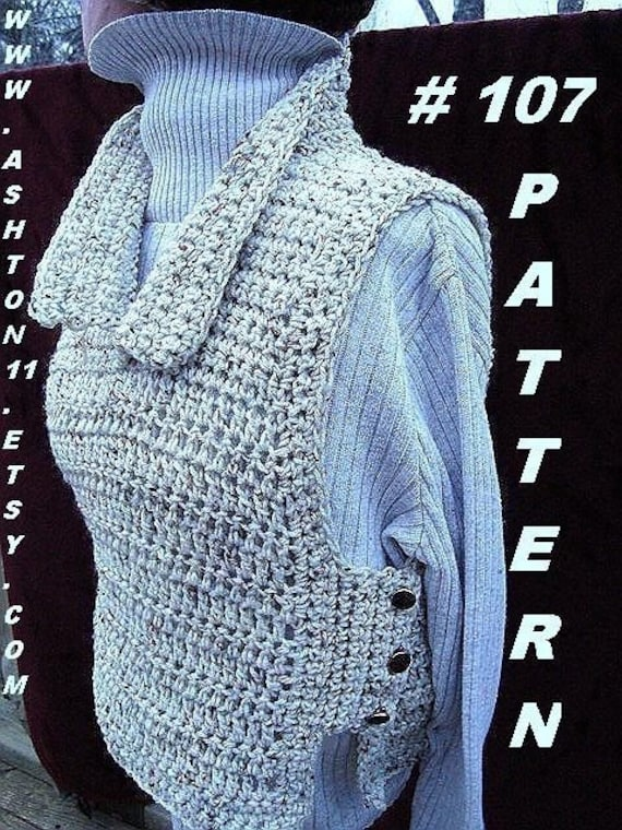 Crochet Vest Patterns For Beginners : INSTANT DOWNLOAD Crochet Pattern PDF 107 Tabbard Vest