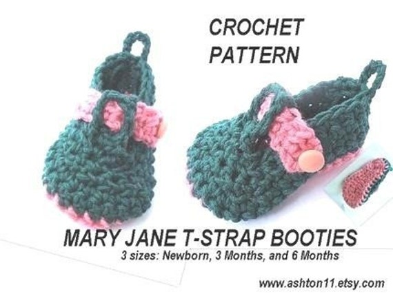 Free Crochet Pattern T Strap Booties : INSTANT DOWNLOAD Crochet Pattern PDF 161 - Crochet Pattern ...