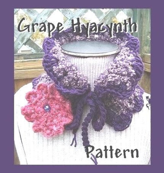 INSTANT DOWNLOAD Crochet Pattern PDF97,  Grape Hyacinth Neckwarmer Scarf or Cowl and Flower