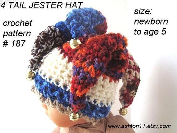 Free Crochet Joker Hat Pattern : INSTANT DOWNLOAD Crochet Pattern PDF187 Jester Hat 4 Tails