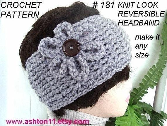 INSTANT DOWNLOAD Crochet Pattern PDF 181-  Knit Look Reversible Headband-make it any size