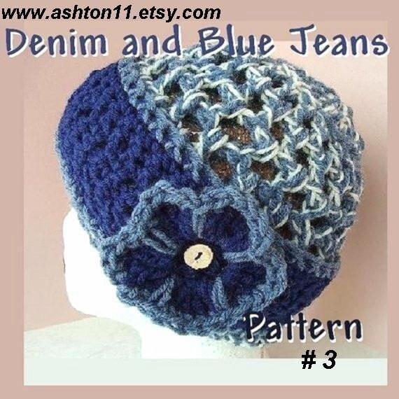 INSTANT DOWNLOAD Crochet Pattern PDF 3.  Denim and Blue Jeans Flapper Hat - Easy Crochet Pattern