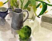 Original  Fine Art Watercolor Painting - After Breakfast-