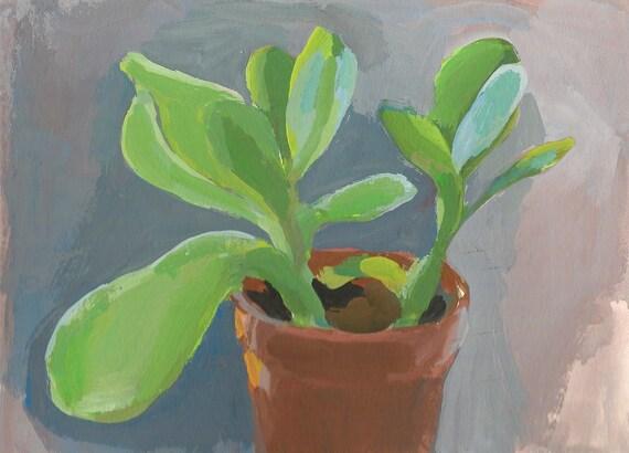 MOVING SALE-Small Succulent-Original Gouache Painting-