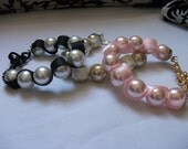 Large Pink Pearls with Gold Chunky Curb Chain Bracelet - Friendship