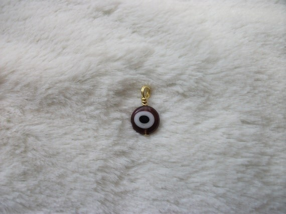 Purple and Gold Evil Eye Pendant - Charm - Jewelry