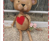 Primitive Valentine Teddy E-pattern - Door Doll \/ Cubby Tuck