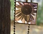 Pendant necklace antique gold color sunflower