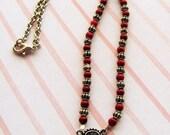 Silver Garnet Heart Choker Style Necklace REDs