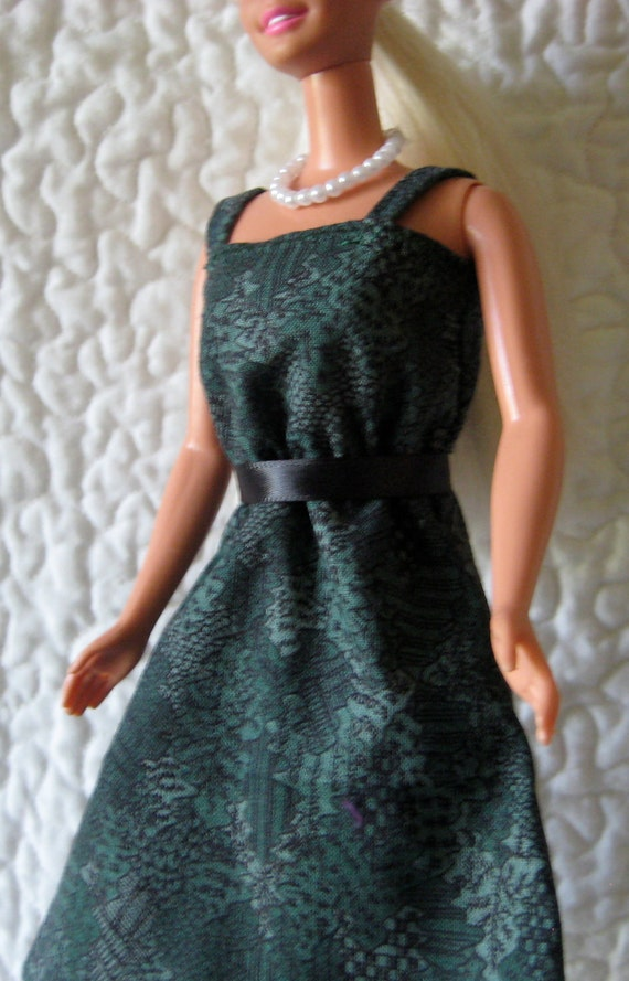 Forrest green print dress with black satin waistband