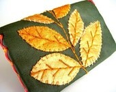 wallet leather green gold leaves embroidery asian fabric metallic gold leather folk woodland handmade by sewZinski on Etsy