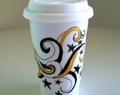 Ceramic Travel Mug Tattoo Black Stars Swirls Gold Painted Metallic Eco friendly coffee cup by sewZinski on Etsy