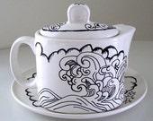 Tea Pot Set Mug Saucer Ceramic White Black Japanese Ocean Waves Clouds Stars Asian Modern One Service Tea Set VIntage Upcycled Hand Painted