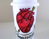 Loteria Heart Ceramic Travel Mug Painted Red Heart Arrow Tattoo Swallows Blue Birds Mexican folk art Spanish quote - READY TO SHIP