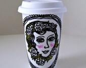 Porcelain Travel Mug Retro Tattoo Woman's portrait black white green Roses hand painted Eco Friendly