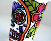 Ceramic Travel Mug Sugar Skull Dia de los Muertos Hand Painted Folk Art Day of the Dead - READY TO SHIP