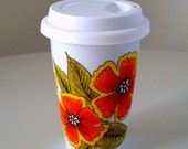 Ceramic Travel Mug Eco Friendly Modern Folk Flower Orange Yellow Green Tangerine Spring Painted by sewZinski